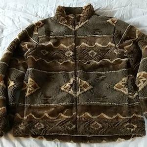 Woolrich Fuzzy Aztec Print Zip Up Winter Coat
